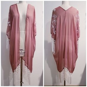 Embroidered Mauve Sheer Kimono